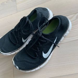 Nike free fly knit black and white sneakers